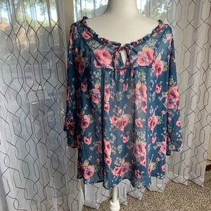 Decree Sheer Floral Tie Front Top Size XL